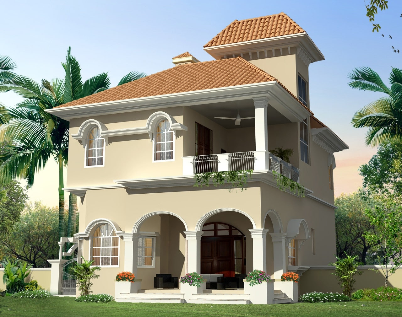 Conceptual rendering of a Mediterranean styled villa HAMILTON rear view at Twin Lake Residences.