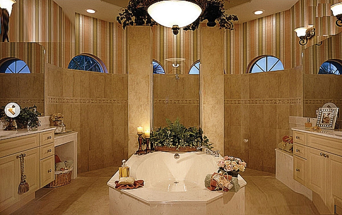 Conceptual image of Master bathroom with central Jacuzzi at Twin Lake Residences.